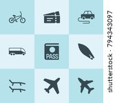 set of 9 travel filled icons... | Shutterstock .eps vector #794343097