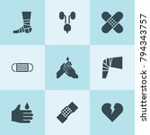 set of 9 health filled icons... | Shutterstock .eps vector #794343757