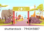 Zoo Entrance Gates Cartoon...