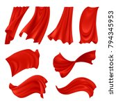 Realistic Billowing Red Cloth...