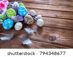 painted easter eggs with... | Shutterstock . vector #794348677