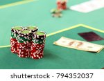 playing chips and money in a... | Shutterstock . vector #794352037