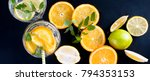 fresh homemade lemonade in... | Shutterstock . vector #794353153
