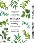 floral wedding invitation with... | Shutterstock .eps vector #794359687