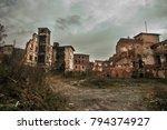 Small photo of Destroyed bombed town in Poland. War affected city