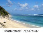 lonely surfer watching the... | Shutterstock . vector #794376037