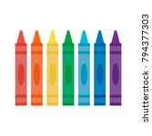 wax colorful crayons on white... | Shutterstock .eps vector #794377303