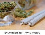 marijuana buds  jar and joints... | Shutterstock . vector #794379097