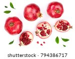 pomegranate with leaves... | Shutterstock . vector #794386717