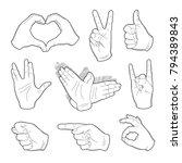 set of vintage hands sticker in ... | Shutterstock .eps vector #794389843