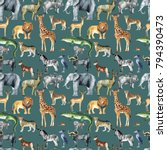 wild animals  giraffe  elephant ... | Shutterstock . vector #794390473