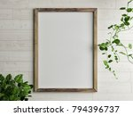 wooden free frame with green... | Shutterstock . vector #794396737