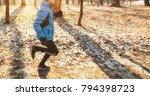the young guy is jogging in the ... | Shutterstock . vector #794398723