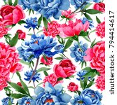wildflower red and blue peonies ... | Shutterstock . vector #794414617