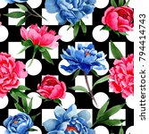 wildflower red and blue peonies ... | Shutterstock . vector #794414743