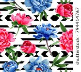 wildflower red and blue peonies ... | Shutterstock . vector #794414767