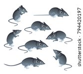 set of mice in different poses. ... | Shutterstock .eps vector #794420197