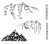 mountains sketch  engraving... | Shutterstock .eps vector #794439373