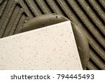 ceramic tiles and tools for... | Shutterstock . vector #794445493