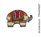 indian elephant in traditional... | Shutterstock .eps vector #794449687