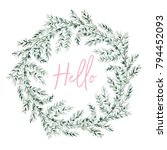green gray leaves wreath with... | Shutterstock .eps vector #794452093