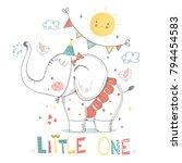 cute elephant baby  girl....   Shutterstock .eps vector #794454583