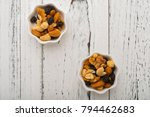 top view almonds and walnuts... | Shutterstock . vector #794462683