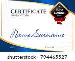 certificate template luxury... | Shutterstock .eps vector #794465527