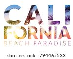 california background with palm.... | Shutterstock .eps vector #794465533