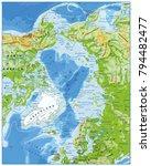arctic ocean physical map....   Shutterstock .eps vector #794482477