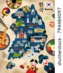 Lovely Korea travel map, Korean famous landmark and delicious dishes recommended for tourists, korea country name in Korean words | Shutterstock vector #794484097