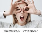 cheerful playful young female... | Shutterstock . vector #794520907