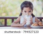 cute asian little child girl is ... | Shutterstock . vector #794527123