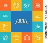 set of 13 travel outline icons... | Shutterstock . vector #794531827