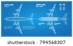 airplane blueprint plan top... | Shutterstock .eps vector #794568307