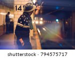 man waiting for the subway in... | Shutterstock . vector #794575717