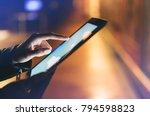 girl holding in hands on blank... | Shutterstock . vector #794598823