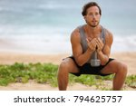 fitness man training squat with ... | Shutterstock . vector #794625757