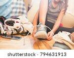 teenage girl after jogging  | Shutterstock . vector #794631913