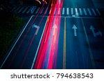 Small photo of Car traffic at night. blur motion