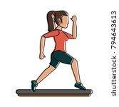 woman running cartoon | Shutterstock .eps vector #794643613