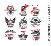 set of vintage motorcycle club... | Shutterstock .eps vector #794653657