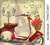 paris vintage poster. | Shutterstock . vector #794671447