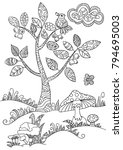 coloring book page with forest...   Shutterstock .eps vector #794695003