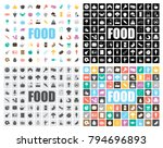 food icons set | Shutterstock .eps vector #794696893