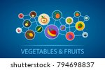 vegetables and fruits flat icon ...   Shutterstock .eps vector #794698837