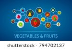 vegetables and fruits flat icon ...   Shutterstock .eps vector #794702137