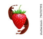 strawberry in chocolate liquid... | Shutterstock .eps vector #794707993