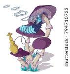 caterpillar smokes a hookah on... | Shutterstock .eps vector #794710723