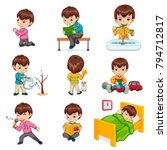 little boy does daily routine... | Shutterstock .eps vector #794712817